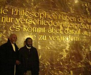 Chairman Omali Yeshitela and Luwezi Kinshasa at Humboldt University, Berlin, Germany